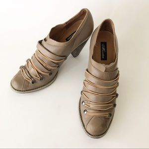 Messeca Taupe Leather Heeled Shoe Snap Detail 10